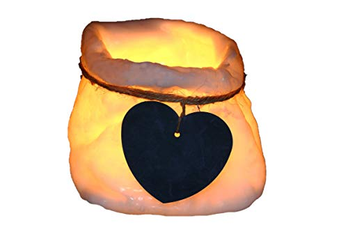 RaggiOFelicE Porta Lumini in Cera a Forma di Cestino con Cuore Personalizzabile per Dedica, Fragranza Oceano, Bianco, 11x11x11 cm