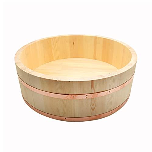KELUNIS Bois Sushi Oke Tub Hangiri Bol De Mélange De Riz avec Cerclage De Cuivre Seau De Riz Japonais Bol À Sushi pour La Cuisine De Restaurant,50cm/19.6in