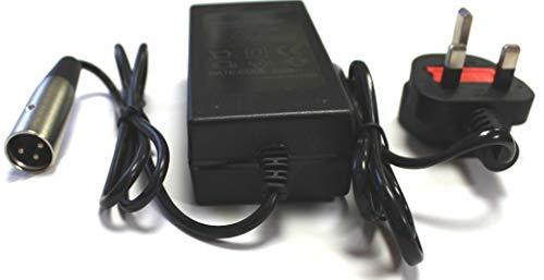 Netzteil für Elektromobil / Rollstuhl/Golfbuggy, 24 V, 2 A, 3-poliger XLR-Anschluss und 3-poliger UK-Stecker, vollautomatisch, 3-stufiger Ladezyklus, Modell