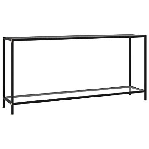 vidaXL Konsolentisch Flurtisch Konsole Beistelltisch Sideboard Wandtisch Frisiertisch Glastisch Deko Transparent 160x35x75cm Hartglas Stahl