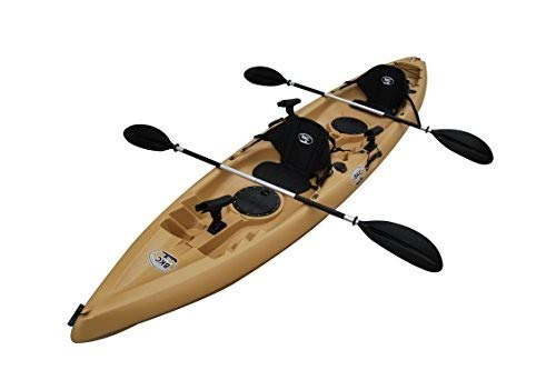 BKC TK181 12.5' Tandem Sit On Top Kayak W/ 2 Soft Padded Seats, Paddles,7 Rod Holders Included 2 Person Kayak (Desert, 12-Foot 5-inch)