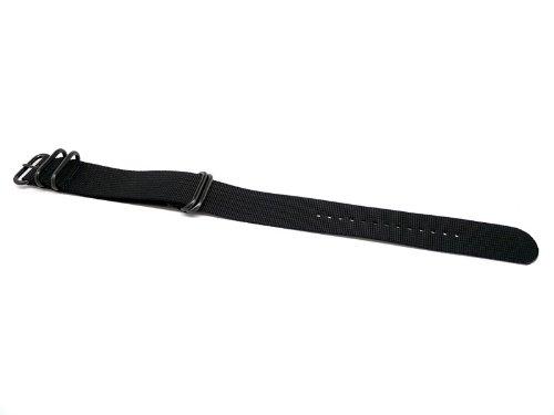 DaLuca Ballistic Nylon Military Watch Strap – Black (PVD Buckle) : 24mm