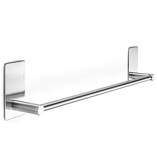 XIAJIA-Adhesivo Fuerte Toalleros de Barra 40cm,Acero inoxidable 304, 3MAdhesivo,impermeable completo (plata)