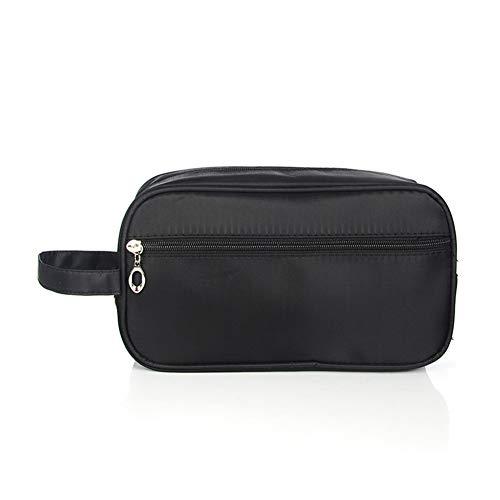 LanLan Kits de afeitado de viaje para hombres Organizador de maquillaje cosmético Bolsa de aseo para mujer con compartimentos dobles Estuche de belleza Negro