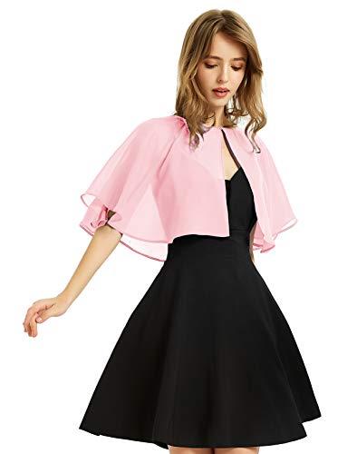 Soft Chiffon Shawl Wraps Shrug for Evening Wedding Women Accessories(Light Pink)