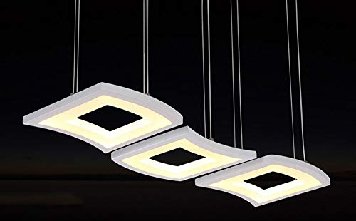 LED Candelabro Blancoregulable Comedor Iluminación Pendiente Araña De Luces con Control Remoto Moderno Chasis Largo Salón Estudiar Cocina Lámpara Colgante 55W Altura Ajustable
