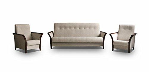 mb-moebel Polstergarnitur Sofa mit Schlaffunktion und Bettkasten 3er Schlafsofa und Zwei Sessel Wohnlandschaft 3-Sitzer Möbel Set - Barbados (Creme)