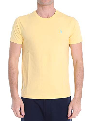 Ralph Lauren Mod. 710671438 T-Shirt Col Rond Jersey Coton Custom Fit Homme Jaune XL