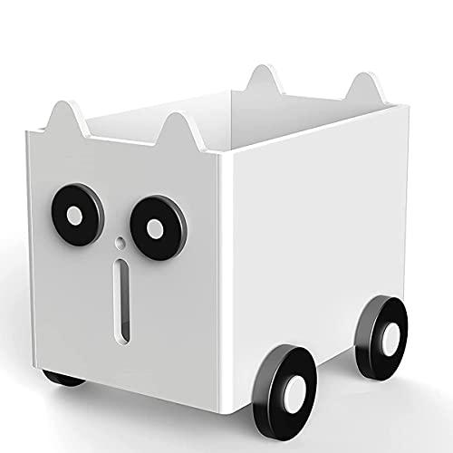 Chostky Spielzeugkiste Aufbewahrung Kinderspielzeug Aufbewahrungsbox 60*50*40cm Kid Boxen mit Rädern Cartoon kiste aus zum Organisieren von Spielzeug Kleidung für Kinderzimmer Spielzimmer (weiß)