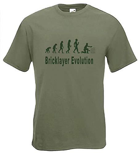 art2tshirt Evolution para albañil Camiseta Funny mampostería Brickie SM Camiseta, Tallas a 2x XL Verde Verde Claro Large