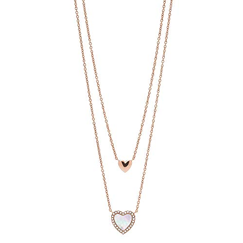 Fossil Hearts to You Mother-of-Pearl Stainless Steel Multi-Strand Necklace, Rose Gold/Hearts to You, Standard (JF03459791)