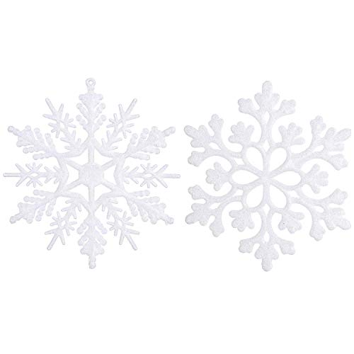 Sea Team Plastic Christmas Glitter Snowflake Ornaments Christmas Tree Decorations, 4-inch, Set of 36 (White)