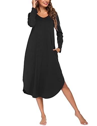 ADOME Nachthemd Damen Langarm Nachtwäsche Baumwolle Sleepshirt Sleepwear Lange Kleid Herbst Freizeitkleid V-Ausschnitt High Low Nachtkleid mit Taschen, Schwarz,XXL
