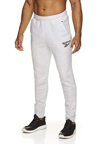Reebok Pantalones de correr para hombre, con bolsillos, pantalones de ejercicio deportivos, para entrenamiento y gimnasio,  Stark White Heather Core Vector, X-Large