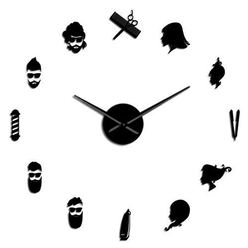 mazhant Tijeras de barbero para salón de Belleza, Reloj de Pared Gigante silencioso DIY, Gran Aguja, sin Marco, Tienda de peluquería, Reloj de Pared Grande para peluquería-37inch