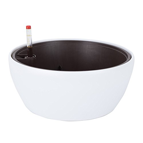 Vencer 11 Inch Plastic Round Self Watering Planter,Water Indicator,Modern Decorative Planter Pot for All House Plants Flowers, Herbs, Vegetables, Tropical,White,VF-048