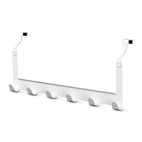 MDCASA Türgarderobe Rückseite weiß - flexibel und passt sich der Tür an - beidseitig verwendbar - Hakenleiste Tür - Handtuchhalter Tür Bad - Türhängeleiste - Türhakenleiste