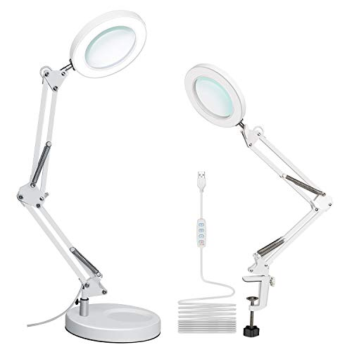 XZN 5-Diopter LED Magnifying Glass with Light Dimmable 10 Brightness Levels 3 Color Modes, Incl Clamp, Desktop Base, Metal Frame Lamp with 4.1″ Real Glass Magnifier for Reading, Craft, Repair (White)