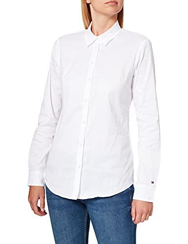 Tommy Hilfiger AMY STR SHIRT LS W1 Camisa, Blanco (Weiß (CLASSIC WHITE 100), Talla de fabricante: 14 para...