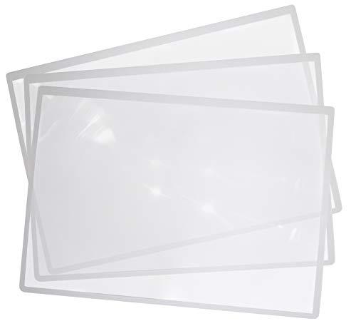 3x große Leselupe DIN A4 groß sehr leicht unzerbrechlich Lesehilfe für Senioren Kinder Linse DIN A4 3x Vergrößerung für Bücher Zeitung Landkarten