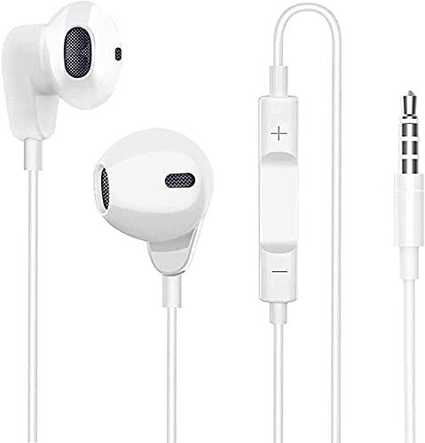 SAMERIVER für 3.5mm In-Ear kopfhörer mit Kabel, Ear kopfhörer Kabel Ohrhörer mit Mikrofon und Lautstärkeregler für iPhone, Pod, Pad, MP3, Huawei, Samsung, Leichte Ohrhörer mit 3.5mm Kopfhörern-Weiß
