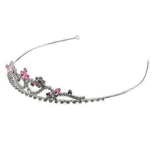 Eleganter Haarkrone Haarreif Haarband Stirnband Haarschmuck mit Kristall Blumenblüten Dekoration - Rosa