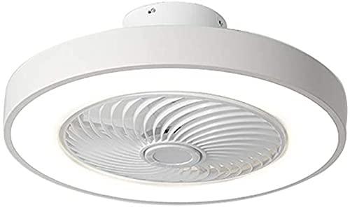 DULG Ventilador silencioso moderno, luz de techo LED con control remoto, ventilador de techo regulable con luz, lámpara de araña de dormitorio, 50 cm, temporizador de 3 velocidades, ventilador de tech
