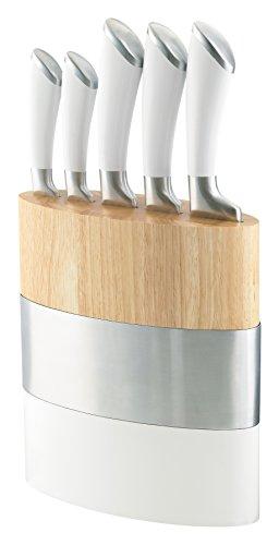 Richardson Sheffield R170WHK445K20 FUSION Messerblock, inkl. Messer-Set, Küchenmesser, Allzweckmesser, Kochmesser, Fleischmesser & Brotmesser, 13/0 Messerstahl, Kunststoff, Holz, Weiß/Braun