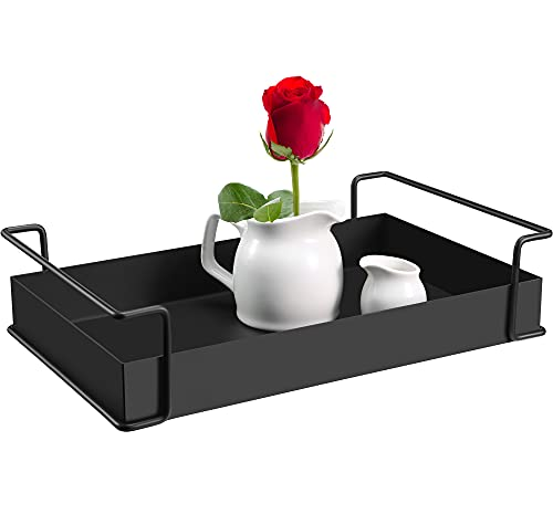 YURONG Decorative Coffee Table Tray Black Tray with Handles Serving Tray Halloween Decor Tray for Home Table House Room 13.4 X 8.3 X 3.2 inches