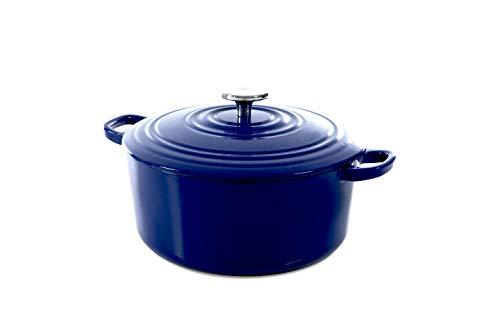 BK Cookware H6074.528 Bourgogne Cocotte en Fonte Émaillée avec Couvercle 28 cm, Dutch Oven, Casserole Induction Ronde 6.7 litres, Tous Feux, Bleu Royal