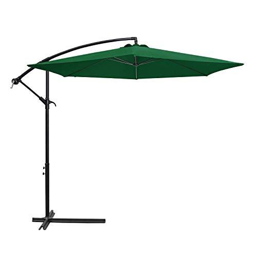 Flamaker Patio Umbrellas Offset Umbrella Cantilever Umbrella Hanging Market Umbrella with Crank & Cross for Backyard, Deck and Beach (Dark Green)