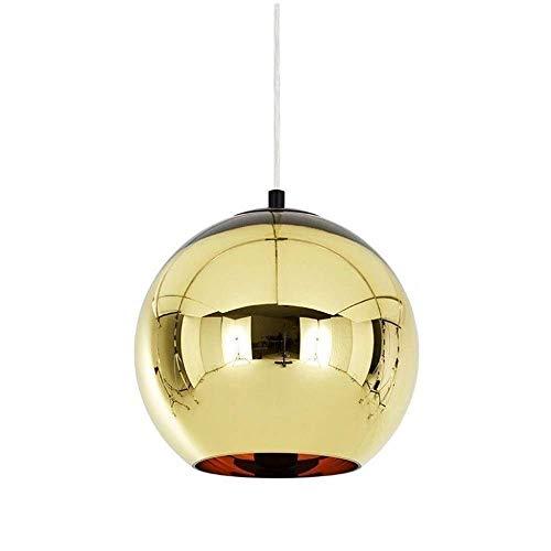 ZZYJYALG Moderno mini bola de espejo del color de la lámpara pendiente globo de cristal de sombra suspensión ajustable Fixture soplado brillante acabado cromado mano E26 E27 5.9' iluminación de techo