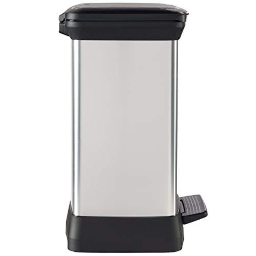 CURVER | Cubo de Basura con Pedal DECOBIN 30L, Plata, 39 x 29 x 50,5 cm, plástico