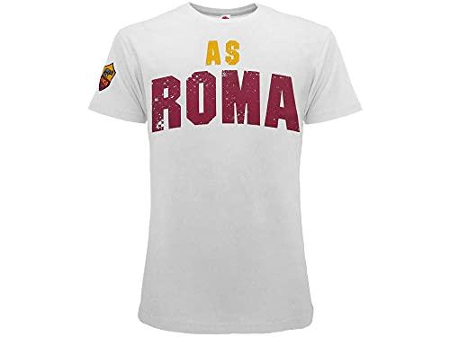 T Shirt Ufficiale Roma. Modello Scritta AS Roma Giallorossa. Stemma sulla Manica. Colore Bianco. Prodotto su Licenza del Club. 100% Cotone. (L)