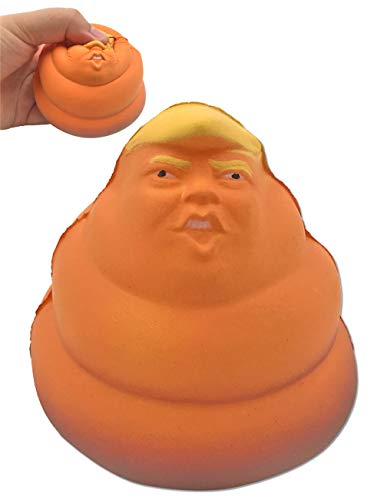 Mimgo-shop Funny Donald Squishy Toy Trump Stress Relief Doll White Elephant Novelty Political Gag Gift (Poop Face Trump)