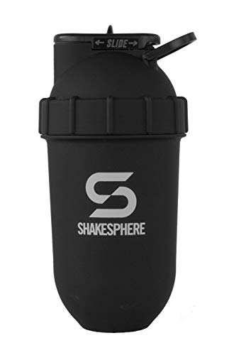 ShakeSphere Tumbler: Protein Shaker Bottle 24oz ● Capsule Shape Mixing ● Easy Clean Up ● No Blending Ball or Whisk Needed ● BPA Free ● Mix amp Drink Shakes Smoothies More Matte White