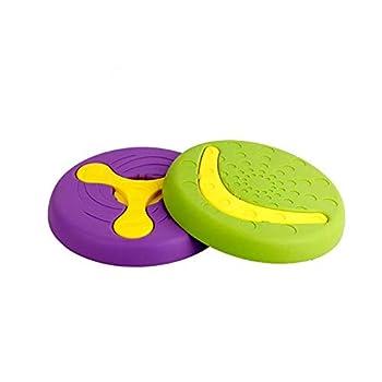 dingdang 2 en 1 Multifonctionnel Durable Chien Pet Disque Volant Jouet Volant Frisbee Soucoupe Volante Formation Jouets Chien Bol pour Le Plaisir Interactif en Plein Air (Vert)