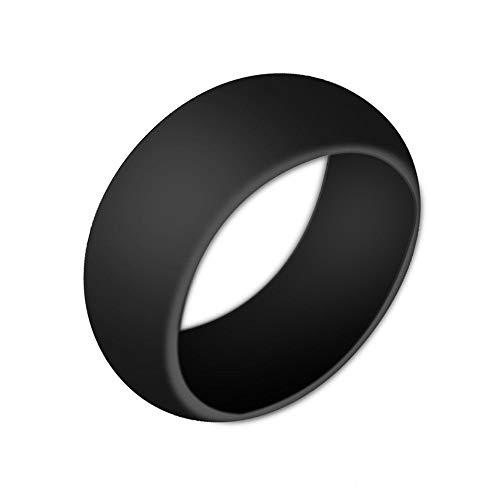 Boolavard Silikon Ehering für Männer und Frauen Preiswerte Silikon Gummiband, 7 Pack, 5 Pack & Singles - Weiß, Grau, Silber, Blau (Schwarz, 8-18.20mm)