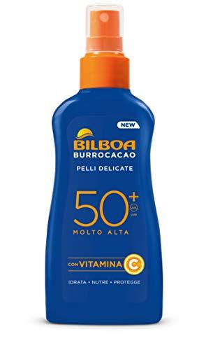 Bilboa Burrocacao Spray Solare No Gas SPF 50+, Protezione Solare Alta per Pelli Sensibili, Formula con Vitamina C, Idrata, Nutre e Protegge, Senza Alcool, Dermatologicamente Testato, 200 Ml