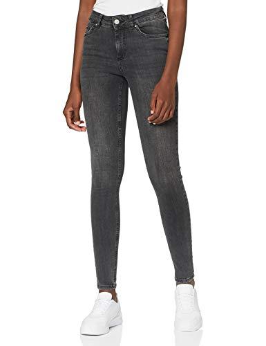 PIECES Damen PCDELLY SKN MW DG509-BA/NOOS BC Jeans, Dark Grey Denim, 32 inches (Large)