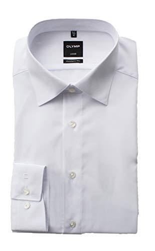 OLYMP Hemd Luxor, Weiß, Modern Fit, Bügelfrei, Knitterfrei, 100% Baumwolle, New Kent Kragen, ohne Brusttasche Gr. 44