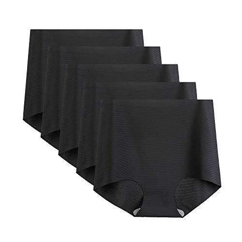 FallSweet High Waisted Panties Seamless Underwear Women Briefs Pack (Black-5,XL)