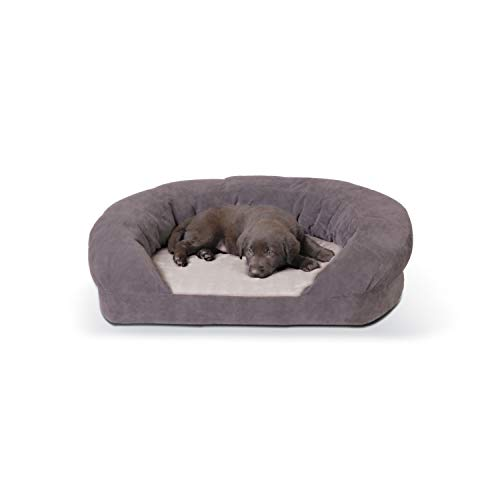 K&H Pet Products Ortho Bolster Sleeper Pet Bed 30″, Medium, Gray
