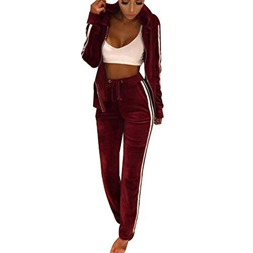 Frauen Damen Mode Trainingsanzug Streifen Zweiteilige Jogginganzug Lange Ärmel Zipper Top Lange Hose Rot Size L