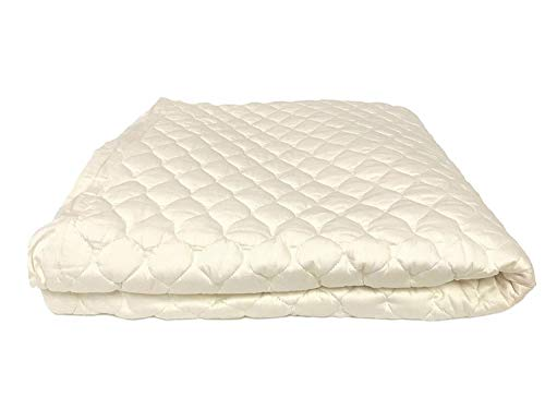 OrganicTextiles Organic Cotton Mattress Pad Protector, Queen Size, GOTS Certified, 17 Deep Pocket Fitted Bed Skirt, 350 Thread Count, Beautiful Quilted Design, Rich Soft Silky Feel, Machine Washable