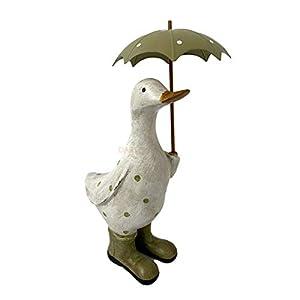Darthome Ltd Green Polka Dot Duck & Umbrella Brolly Home Sculpture Statue Decorative Ornament 27cm