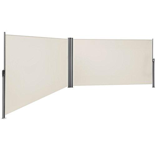 SONGMICS Doppelseitenmarkise, ausziehbar, 2 x 6 m (H x L), ausziehbare Seitenmarkise, Sichtschutz, Sonnenschutz, Seitenrollo, für Balkon, Terrasse und Garten, beige GSA400E