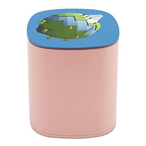 Rotar la caja de joyería Diseño Esfera hecha a mano Placa de arte Origami joyería titular caja pequeña con espejo, diseño de múltiples capas plato de joyería para mujeres niña