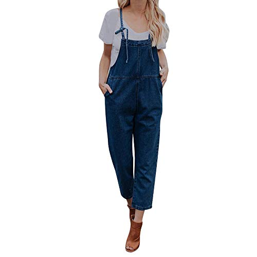 Dames Losse Denim Dungarees Jeans Bib Broek Meisjes Retro Losse Casual Jeans Mouwloos Playsuit Clubwear Overalls Bandjes Jumpsuit voor Vrouwen Uitgaan Party Rompers Broek