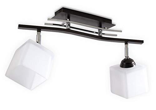 Sollux Lighting Punto 2 Plafonnier Acier Marron Blanc Chrome